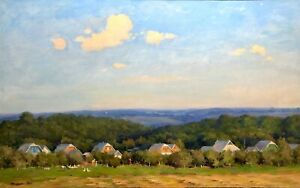 painting-art-socialist-realism-vintage-landscape-old-Sheludko-Village-socrealizm