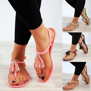 Nouveau-Femme-Sandales-Plates-Tassel-Jelly-Toe-Post-Bride-Cheville-Fete-Chaussures-Tailles