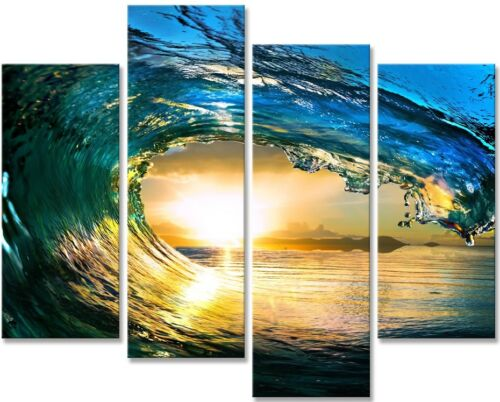 WAVE CUSTOM FRAMED CANVAS PRINTS.LARGE SELECTION OF SIZES-CHOOSE YOURS!