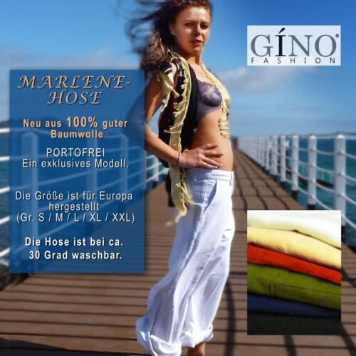 NUOVO COTONE tendenza Donna Marlene Pantaloni Ampio Gamba Tg angolo naturale 36-44
