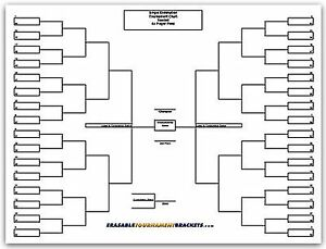 22 x 34 64 player single elimination tournament bracket for Game brackets templates
