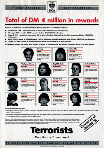 1986 RAF Red Army Faction wanted poster reproduction