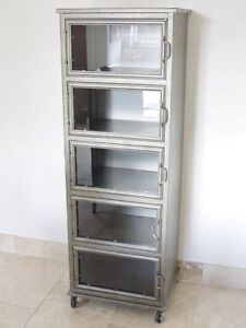 Industrial Display Cabinet With 5 Glass Doors Metal