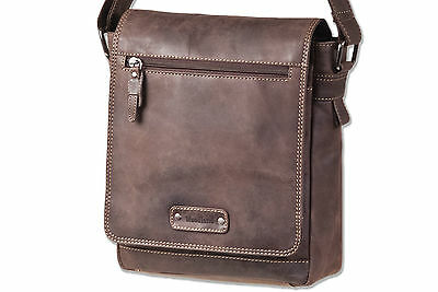 Woodland Petit sac /à bandouli/ère en cuir de buffle naturel dans brun fonc/é//Taupe