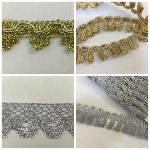 Gold /& Silver Lurex Textured Braid /& Fringe