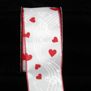 Wired-Ribbon-Music-Notes-and-Hearts-10-Yards-Wedding-Craft-Bow-2-5-034-Wide