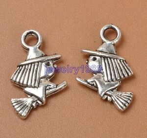 20pcs-Tibetan-Silver-Charm-Riding-Broom-Witch-Pendant-Accessories-10x16mm-F3307
