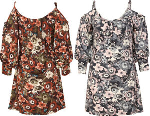 Dress-Top-Blouse-Strappy-Shirt-Maxi-Summer-New-Tee-Floral-Soft-Ladies-Womens