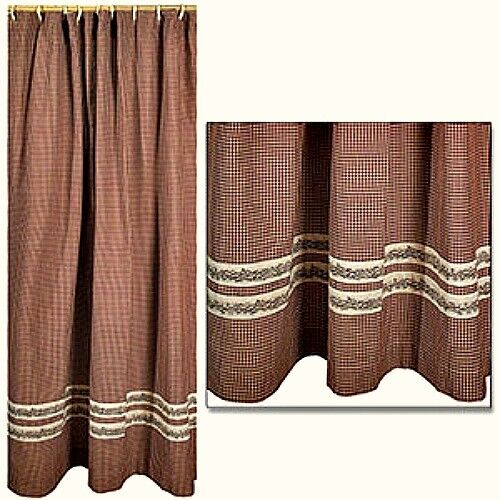 New Primitive Red Burgundy BERRY VINE BERRY Gingham Check Fabric Shower Curtain