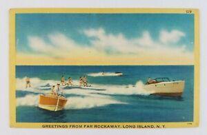Postcard-Linen-Greetings-From-Far-Rockaway-Long-Island-New-York-Water-Skiing
