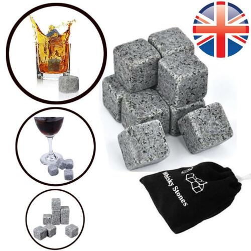 *UK Seller* 9~36X Scotch Whiskey Stones Cooler Granite Rocks Ice Cubes W// Pouch