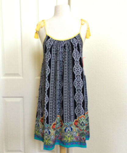 WOMENS *NEW SUMMER BLACK WHITE PAISLEY BEACH CASUAL SLEEVELESS DRESS S M L NWT