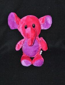 Peluche doudou éléphant HB LEISURE rouge fushia mauve yeux brodés
