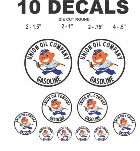 10 Union Oil Company Gasoline Vinyl Decals