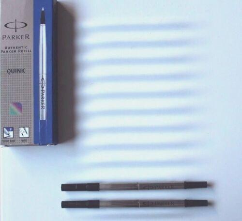 2x Parker Tintenroller Mine  schwarz F Roller Ball refill Quink zwei Stück