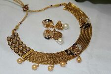 Bollywood Style Ethnic Indian Gold Plated  Pearl Jewellery Necklace Earrings 112