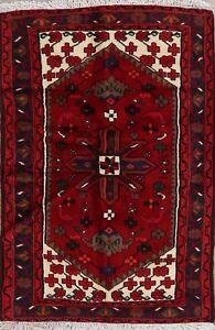 Geometric-Tribal-Red-Hamedan-Area-Rug-Hand-made-Wool-Kitchen-Office-Carpet-3-039-x5-039