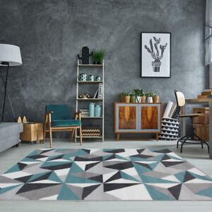 Détails sur Tapis de salon moderne géométrique kaléidoscope gris argenté  crème bleu canard