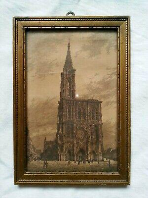 Goldener Jugendstilrahmen ~ 1900 Straßburger Münster Geeignet FüR MäNner, Frauen Und Kinder