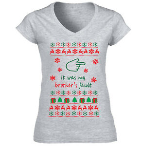 CHRISTMAS-IT-WAS-MY-BROTHER-S-FAULT-NEW-COTTON-GREY-LADY-TSHIRT