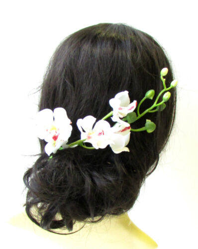 White Long Orchid Flower Stem Branch Hair Comb Fascinator Headpiece Hawaii 1999