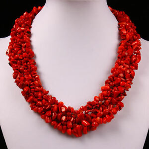 Gorgeous-Red-Sea-Coral-Gemstone-Stone-Chip-Beads-Chain-Choker-Necklace-Jewelry