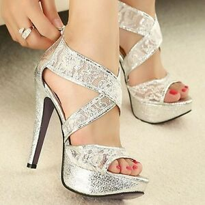 Hollow Out Romantic lace Strappy Wedding Shoes Platform High Heels ...