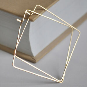 Image Is Loading Gold Filled Square Hoop Earrings Geometric Fashion