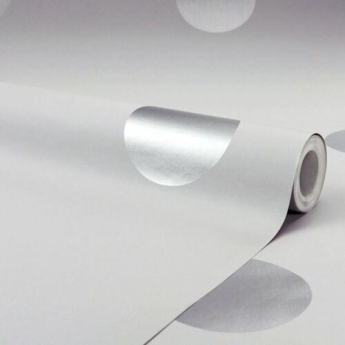 Pois Papier peint gris argent métallique brillant blanc cassé Children/'s Modern