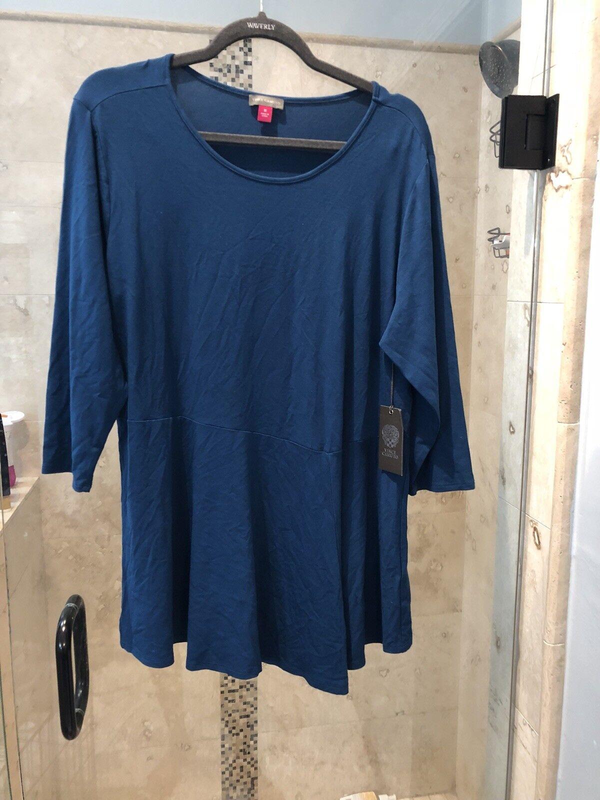 NWT  VINCE CAMUTO Plus Größe 1x Blau  T-Shirt Top Blouse Woherren