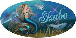 Mermaid-Dolphins-Vinyl-Decal-Bumper-Sticker-Personalize-Gifts-Any-Text-4-034-x-8-034