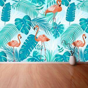 Vlies-Fototapete-Fototapeten-Tapete-aus-Vlies-Poster-Foto-Blaetter-Flamingos
