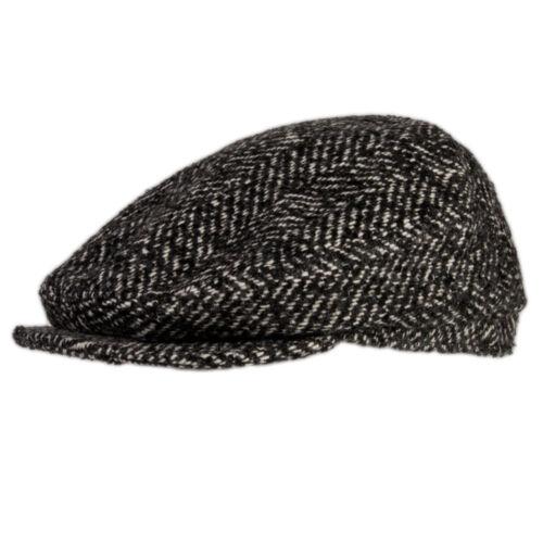 Mens Beret Hat Wool Blend Mens Flat Cap in Black Herringbone