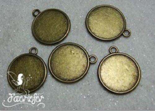 5 tono bronce doble cara Cabujón ajuste frames redondo colgantes 22 Mm Fotos