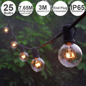 25FT-G40-LED-Globe-String-Lights-25-Bulbs-Waterproof-Garden-Party-Decor-US-Plug