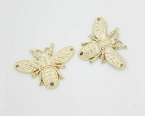 1pc Gold Tone Plated Bee Metal Three 3 Holes Connector Sew On Decor Jewelry M...