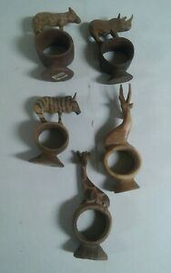 Lot of 5 Vintage Kenya Africa Hand Carved Napkin Rings Safari Rhino Animals