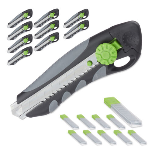 10 x PROFI Cuttermesser mit Ersatzklingen Teppichmesser Abbrechklingen Cutter