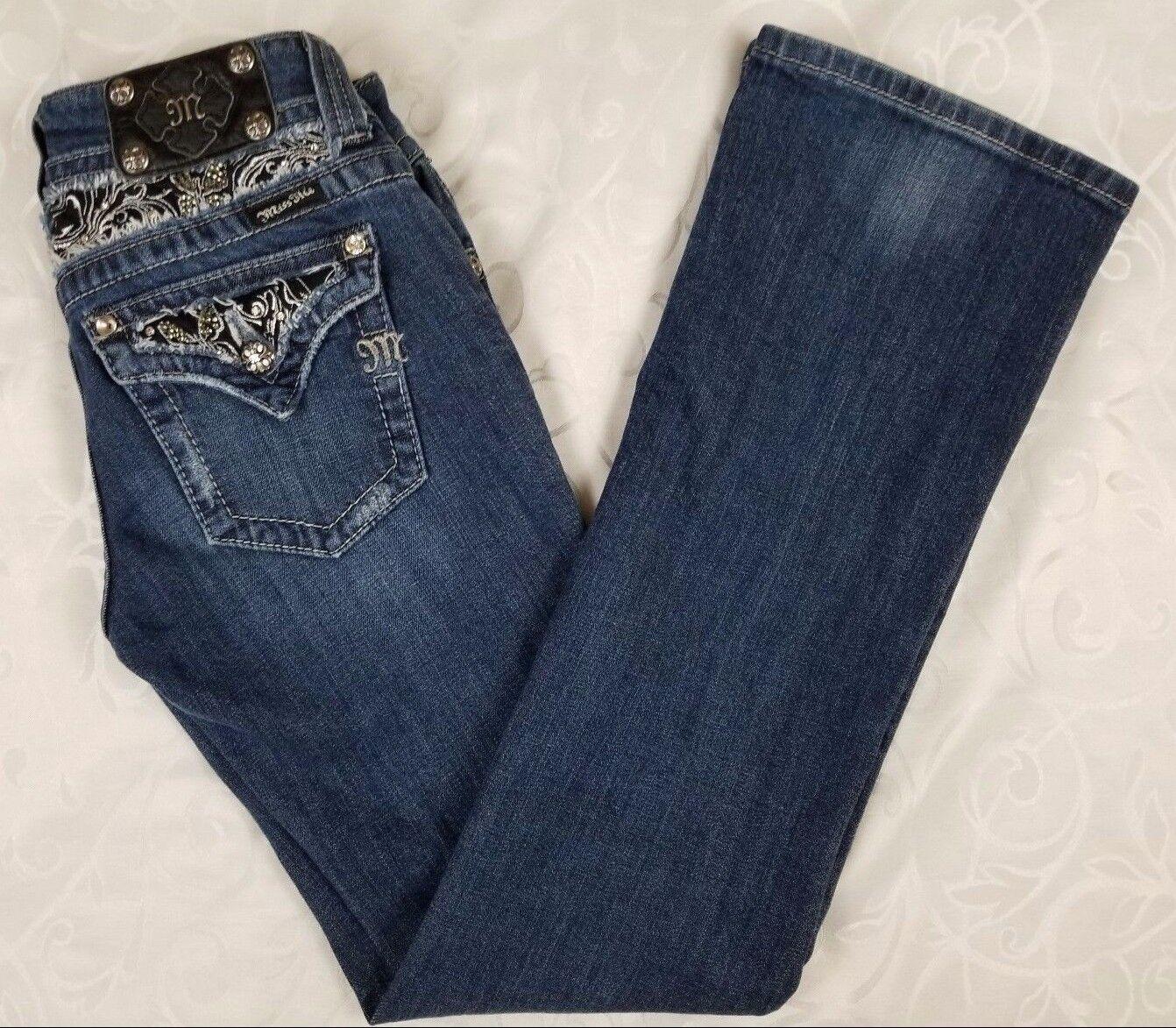 Miss Me Boot Cut Denim Jeans 27 Dark Wash Mid-Rise Sequin Rhinestone Bling EUC