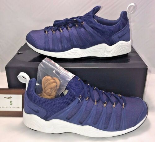 Hot Nike Mens Size 10.5 Air Zoom Spirimic Blue White Leather Rare New In Box $200  for cheap