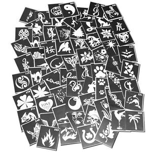 100-Pieces-Henna-Tattoo-Stencil-Air-Brushing-or-Glitter-Tattoos