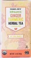 Trader Joe's Organic Ginger Turmeric Herbal Tea, Caffeine Free, 20 Tea Bag
