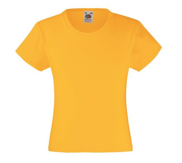 d6938d84d1e11 Fruit of the Loom coton Uni Enfants Filles T-shirt feminin compatible avec  Jaune Tournesol 7 - 8 ans