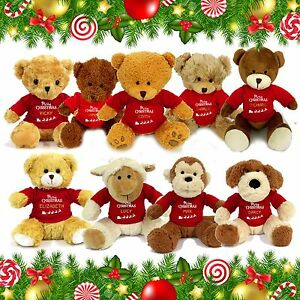 PERSONALISED NAME CHRISTMAS TEDDY BEAR SOFT TOY XMAS SECRET SANTA GIFT PRESENT