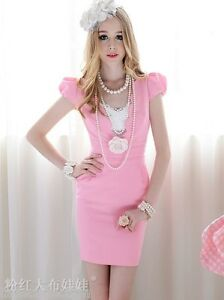 Lolita-Style-Cocktail-Bridal-Party-Races-Fitted-Mini-Hot-Little-Pink-Dress-2325