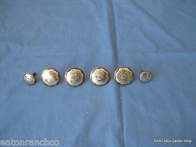 6 Silver Engraved Sweet Iron Concho  Saddle Trim Set Conchos Woodscrew Backs