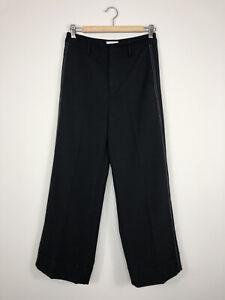 A Loves A Dillard's Women's Black Contrast Stitch Wide Leg Cuffed Dress Pants 6