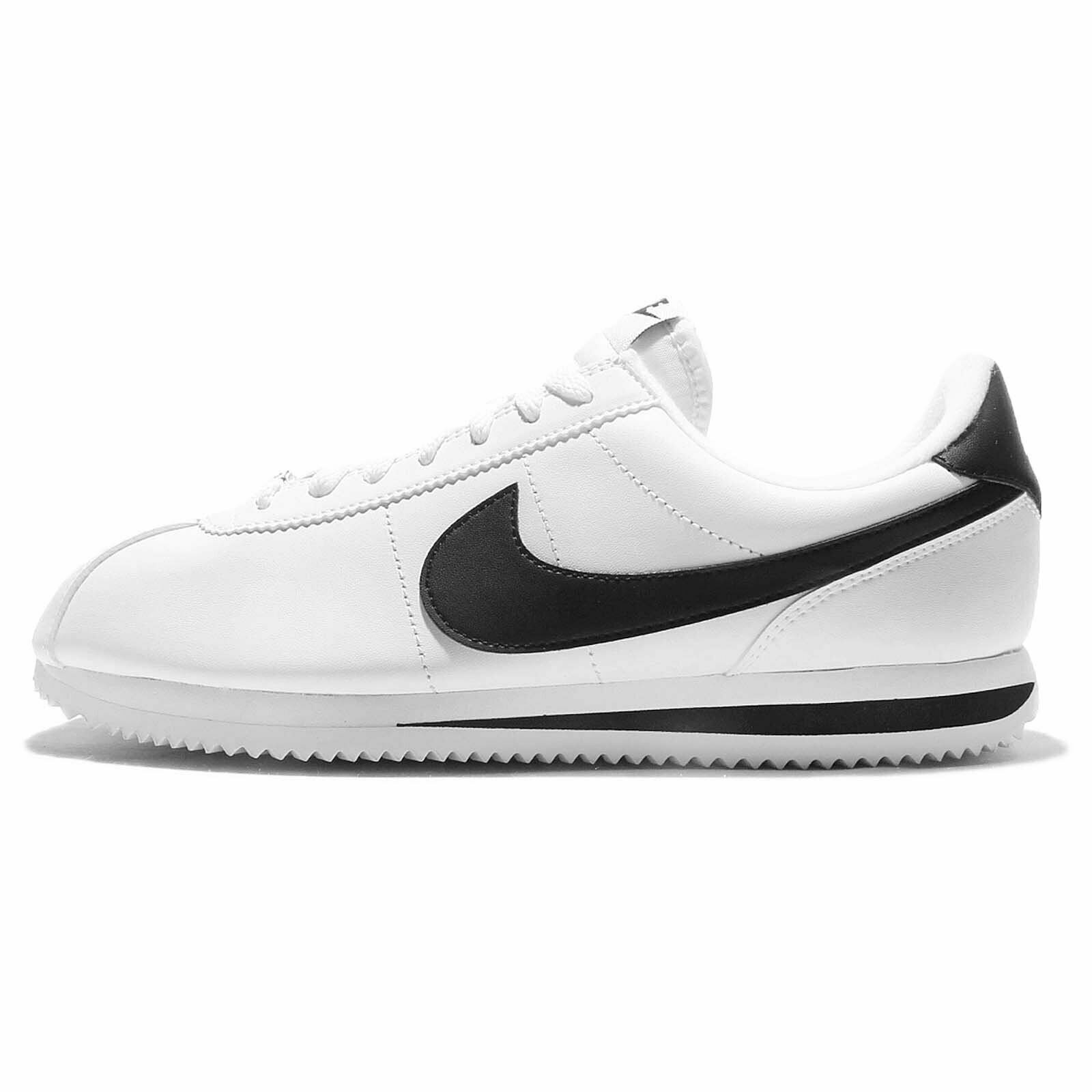 Nike Mens Cortez Basic Leather Casual shoes White Metallic Silver Black 12.5