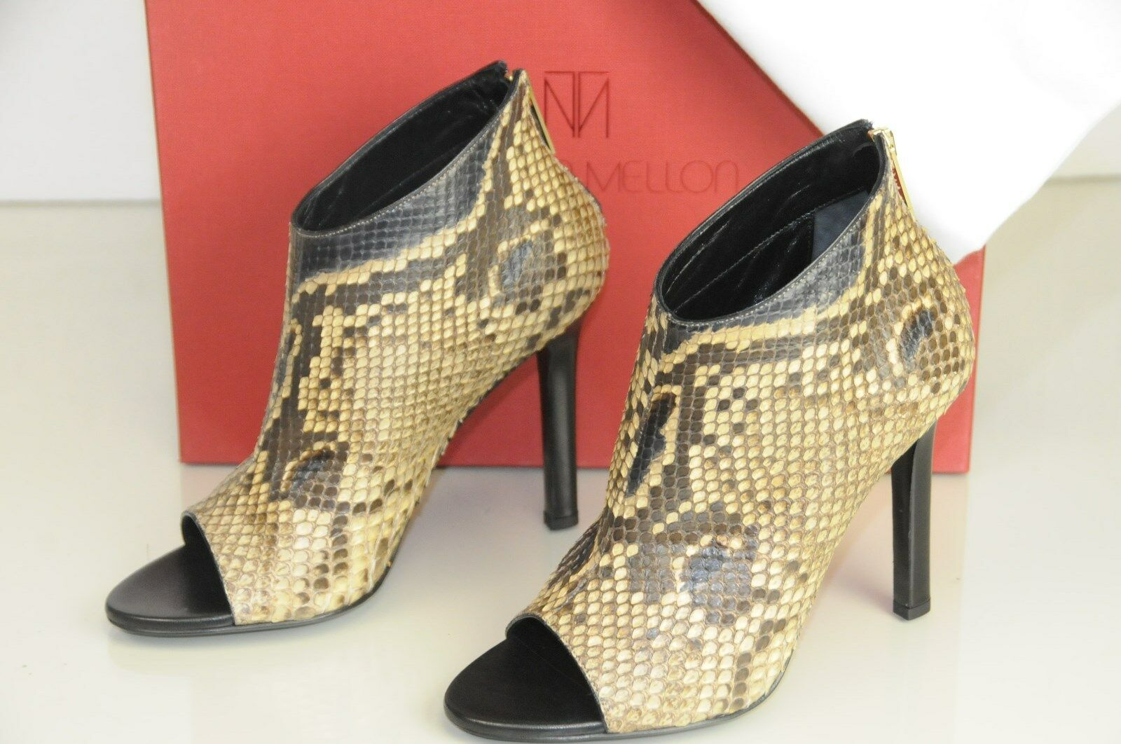 995 New Tamara Mellon DESIRE CAMEL PYTHON Exotic SKINS Boots Booties shoes 37