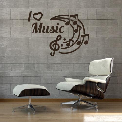Mural I LOVE MUSIC MUSIQUE DJ LOUNGE Autocollant wall art mur tatouage #2089